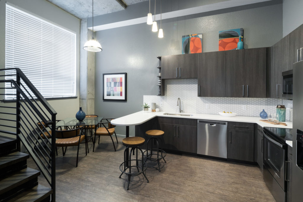 Gourmet kitchen at Alexan Arapahoe Square - Relax and Unwind Comfortably
