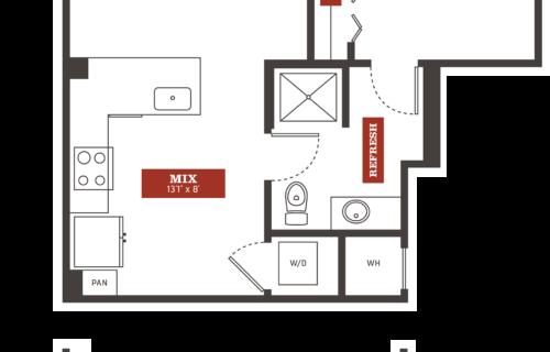 A7b one-bedroom luxury apartment floorplan - Impressive One-Bedroom in Denver